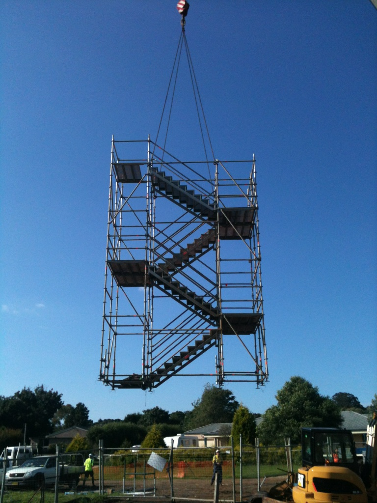 Scaffolding. Craneable Stairs