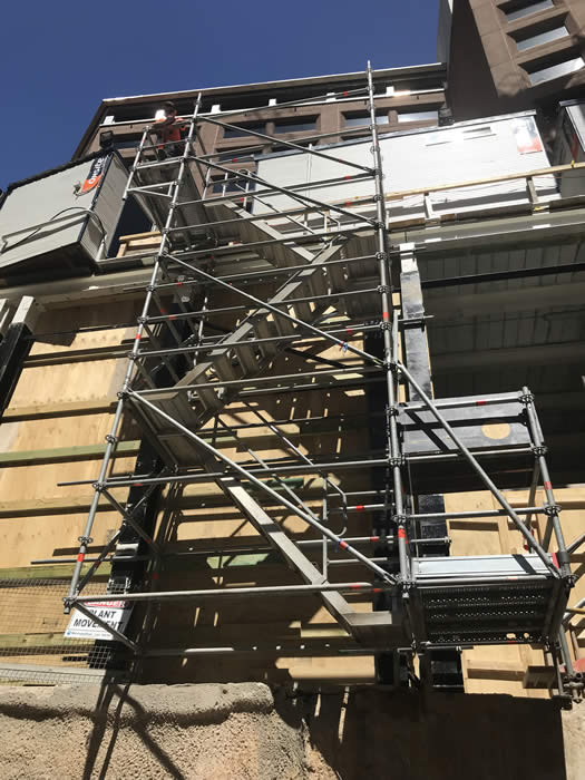 Hanging scaffold stair over excavation Sydney